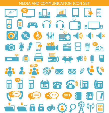 contact: Media and communication icons Illustration