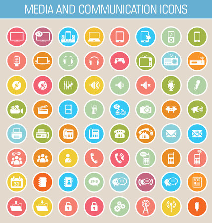 music: Media and communication icon set Illustration