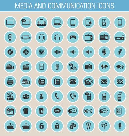 Media and communication icon set Illustration