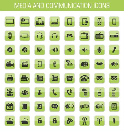adress: Media and communication icon set Illustration