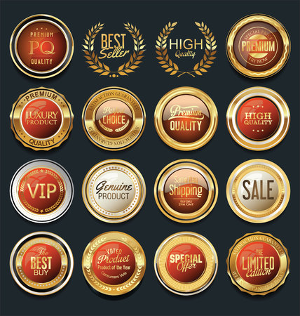 plate: Sale retro vintage golden badges and labels