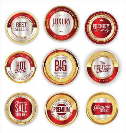 golden: Sale retro vintage golden badges and labels