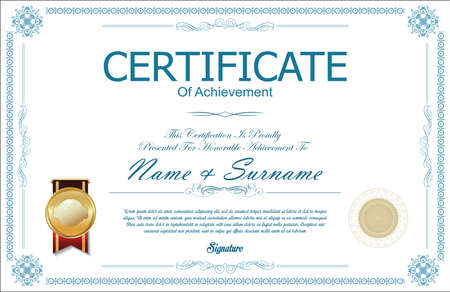 note paper: Certificate of achievement or diploma template Illustration