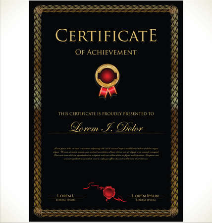 stock certificate: Certificate of achievement or diploma template Illustration