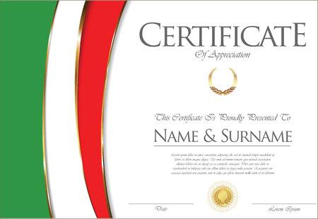 인증서 또는 졸업장 이탈리아 깃발 디자인입니다.