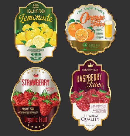 Gouden etiketten voor biologisch fruitproduct Stock Illustratie