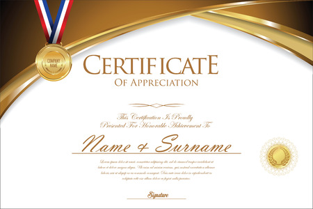 ribbon: Certificate or diploma retro design Illustration