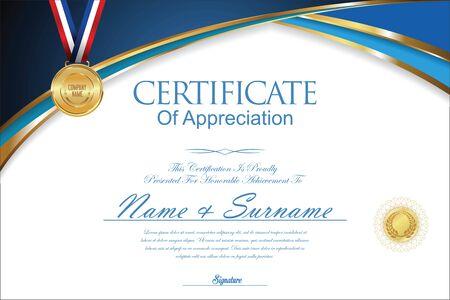 certificate design: Certificate or diploma retro design Illustration