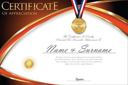 Certificate or diploma retro design Illustration