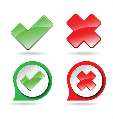 Yes and no sign of product quality and choice Illustration