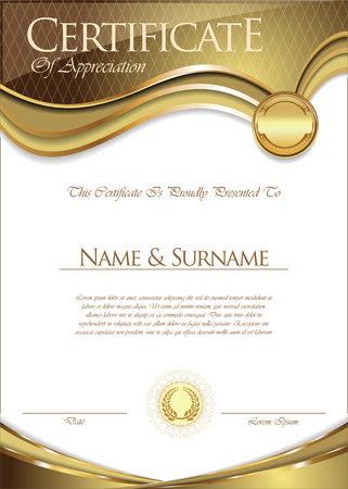 Diseño retro certificado o diploma Foto de archivo - 80179897