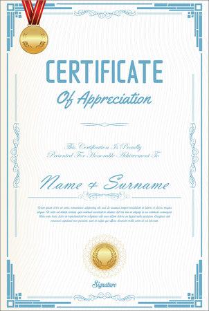 stock certificate: Certificate or diploma retro design Illustration