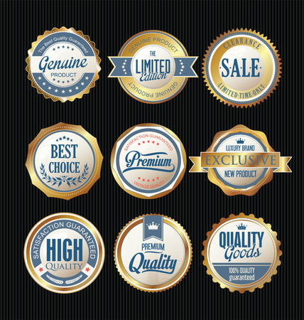 quality guarantee: Luxury sale golden labels collection Illustration