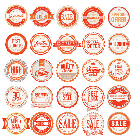 quality guarantee: Sale retro vintage badges and labels Illustration