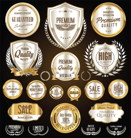 quality guarantee: Premium and luxury silver retro badges and labels collection
