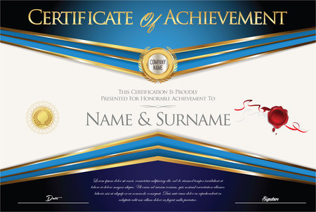 stock certificate: Certificate or diploma retro vintage template Illustration