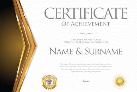 antique: Certificate or diploma retro vintage template Illustration