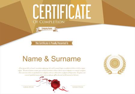 certificate template: Certificate or diploma retro design template vector illustration Illustration