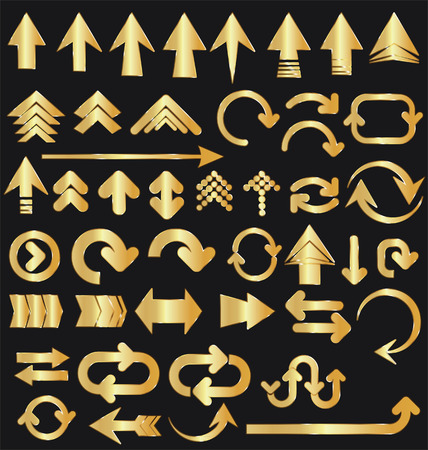 Vector set of golden arrow shapes isolated on black  イラスト・ベクター素材