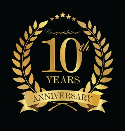 Anniversary golden laurel wreath 10 years