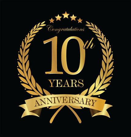 周年記念黄金月桂樹のリース 10 年