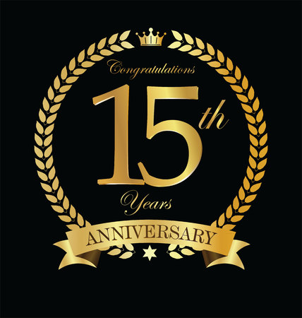 Anniversary golden laurel wreath 15 years Çizim