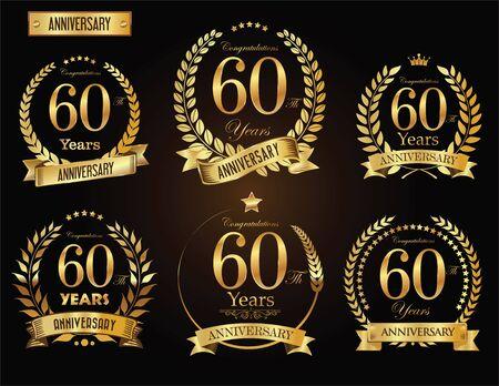 기념일 황금 월계관 스톡 콘텐츠 - 84990215