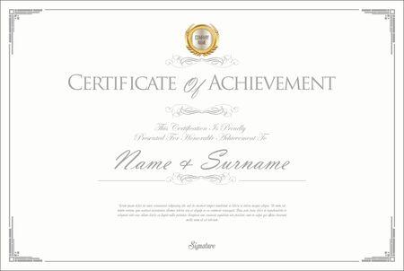 certificate template: Certificate or diploma retro design Illustration