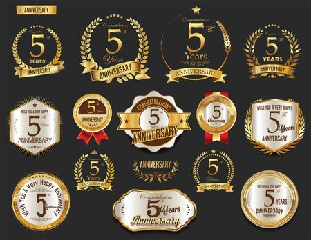 Anniversary golden laurel wreath and badges 5 years vector collection