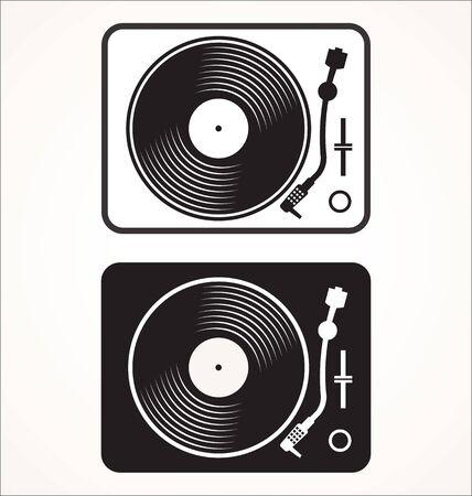 Icône de lecteur de disque vintage noir et blanc.
