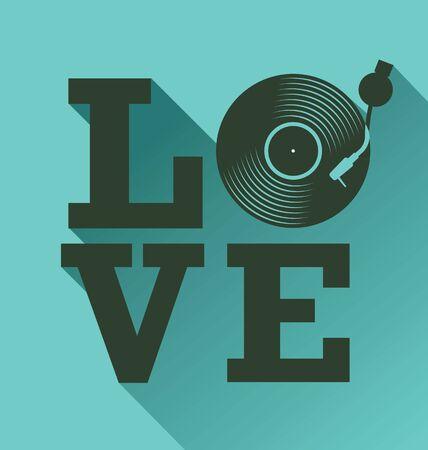 noir vinyl record disque plat concept d & # 39 ; amour illustration vectorielle