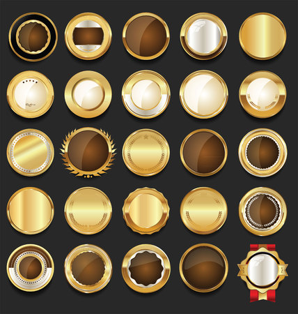 Golden sale frame badge and label vector collection Illustration
