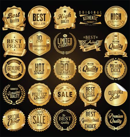 Retro vintage golden badges vector illustration collection Vettoriali