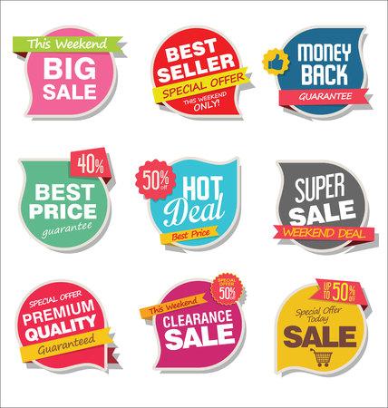 Nowoczesna sprzedaż naklejek i tagów kolorowej kolekcji Ilustracje wektorowe