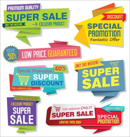 Sale stickers and tags colorful collection vector illustration. Çizim