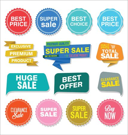 Sale stickers and tags colorful collection vector illustration. Illustration