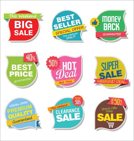Modern sale stickers and tags colorful collection.