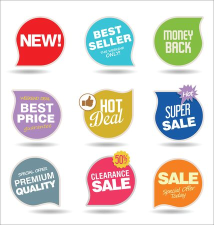 Modern sale stickers and tags in colorful collection. Stock Illustratie