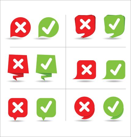 Yes and no sign icons set Vector illustration.