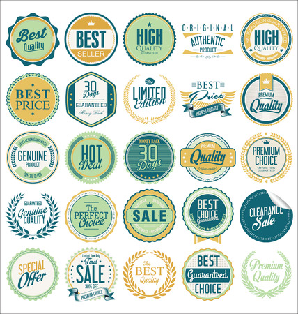 Collection of Premium Quality Labels with retro vintage design