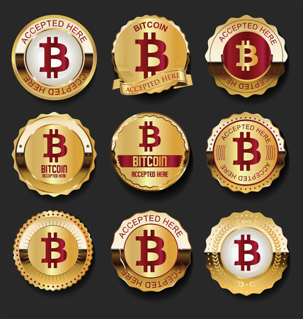 Bitcoin accepted here golden labels vector illustration