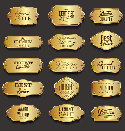 Retro vintage golden frames sale collection vector illustration Stock fotó - 102950316