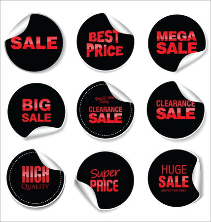 Black sale stickers vector illustration collection