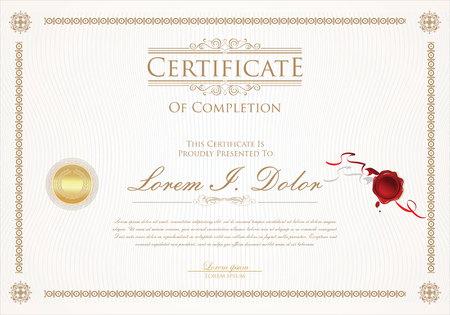 Certificate or diploma retro design template vector illustration Standard-Bild - 105673950