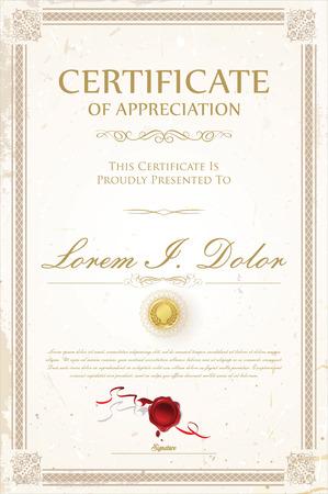 Certificate or diploma retro design template vector illustration Standard-Bild - 105673948
