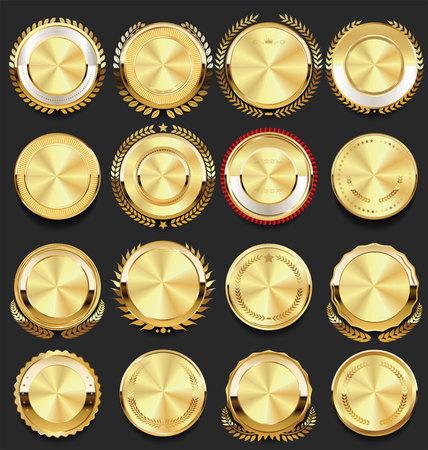 Ilustración de vector de colección de oro de insignias vintage retro