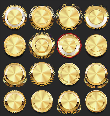 retro vintage badges golden collection vector illustration