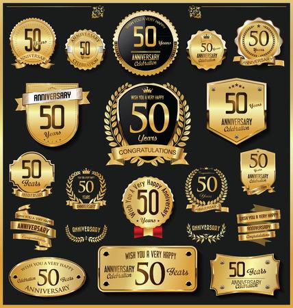 Anniversaire rétro vintage badges et étiquettes dorées