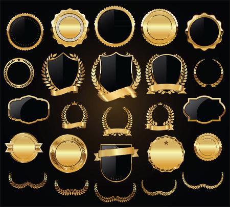 Boucliers d'or couronnes de laurier et badges vector collection