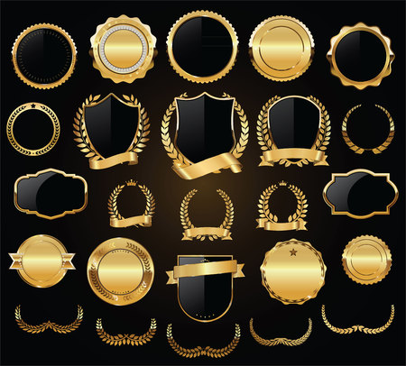 Golden shields laurel wreaths and badges vector collection